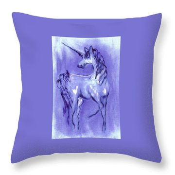 Blue Unicorn Throw Pillow by Carol Rowland