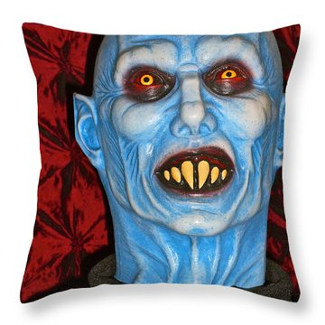 Blue Vampire Throw Pillow by Joan Reese