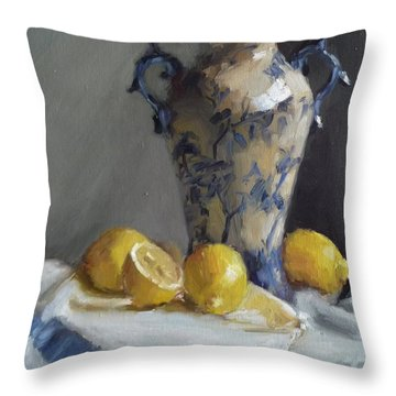 Blue Vase And Lemons Throw Pillow