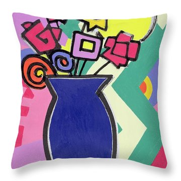 Blue Vase Throw Pillow by Bodel Rikys