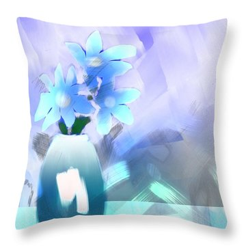 Throw Pillow featuring the digital art Blue Vase Of Flowers by Frank Bright