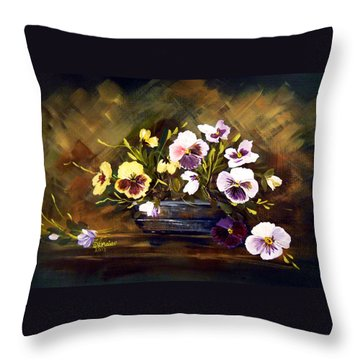 Blue Vase With Pansies Throw Pillow