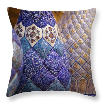 Blue Vases Throw Pillow