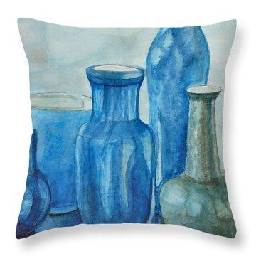 Blue Vases I Throw Pillow