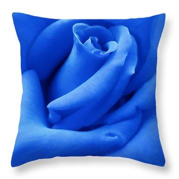 Blue Velvet Rose Flower Throw Pillow by Jennie Marie Schell