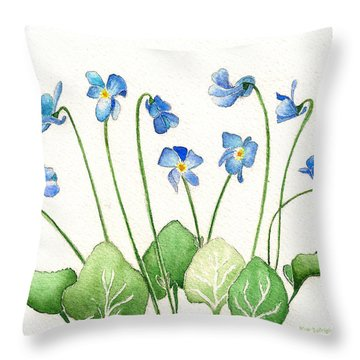 Blue Violets Throw Pillow by Nan Wright