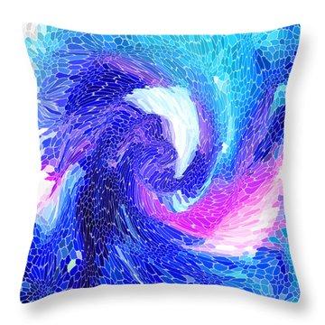 Blue Vortex Throw Pillow by Mariarosa Rockefeller