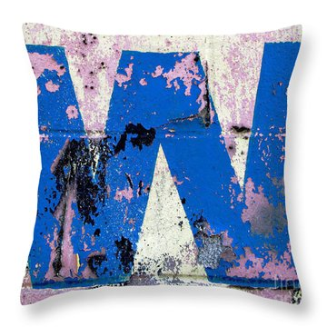 Blue W Throw Pillow