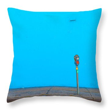 Throw Pillow featuring the photograph Blue Wall Parking by Darryl Dalton