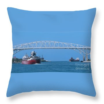 Blue Water Bridge And Freighters Throw Pillow