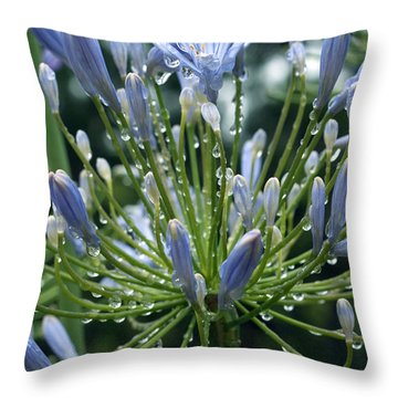 Throw Pillow featuring the photograph Blue Water Drops - 2 by Haleh Mahbod