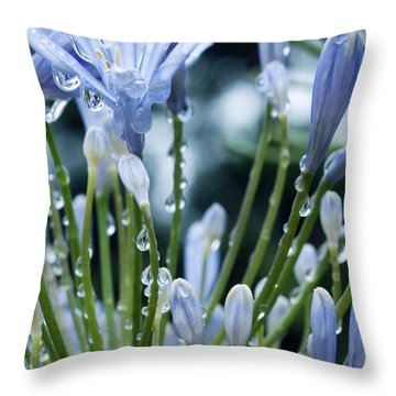 Throw Pillow featuring the photograph Blue Water Drops -3  by Haleh Mahbod