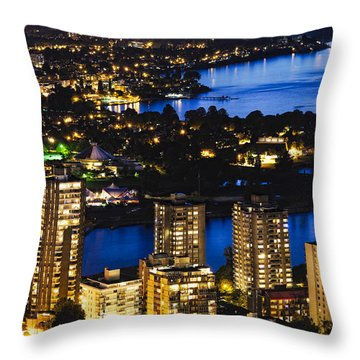Throw Pillow featuring the photograph Blue Water Kitsilano Beach Mcdix by Amyn Nasser
