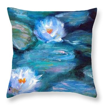Throw Pillow featuring the painting Blue Water Lilies by Lauren Heller