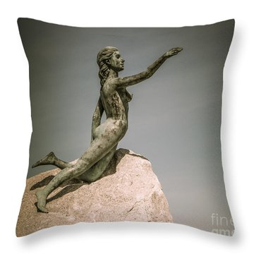 Blue Water Maiden Throw Pillow