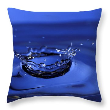 Blue Water Splash Throw Pillow