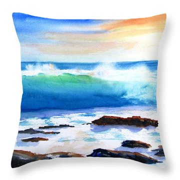 Blue Water Wave Crashing On Rocks Throw Pillow