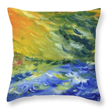 Blue Waves Throw Pillow by Teresa White