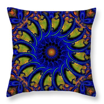 Blue Whirligig Throw Pillow