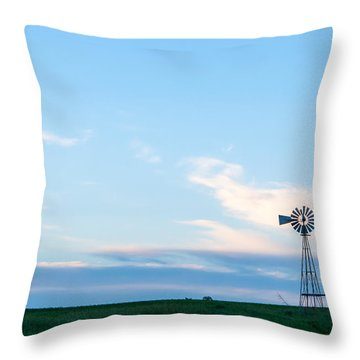 Throw Pillow featuring the photograph Blue Windmill On The Plains by Dawn Romine