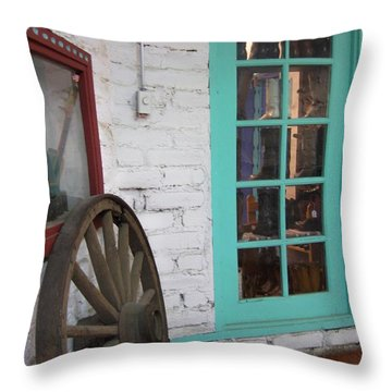 Throw Pillow featuring the photograph Blue Window And Wagon Wheel by Dora Sofia Caputo Photographic Art and Design