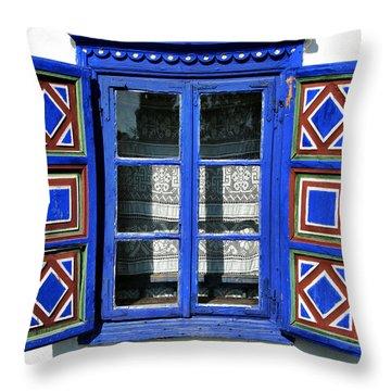 Blue Window Handmade Throw Pillow by Daliana Pacuraru