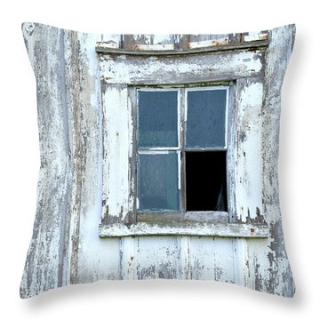 Blue Window In Weathered Wall Throw Pillow