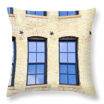 Blue Windows And Stars Throw Pillow