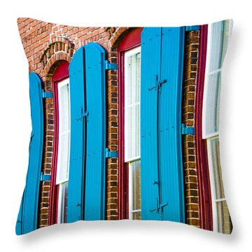 Blue Windows Throw Pillow by Carolyn Marshall