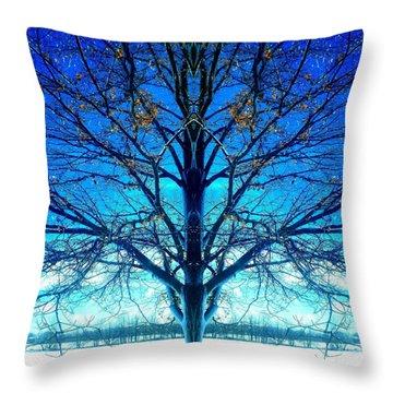 Blue Winter Tree Throw Pillow
