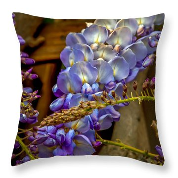 Blue Wisteria Throw Pillow