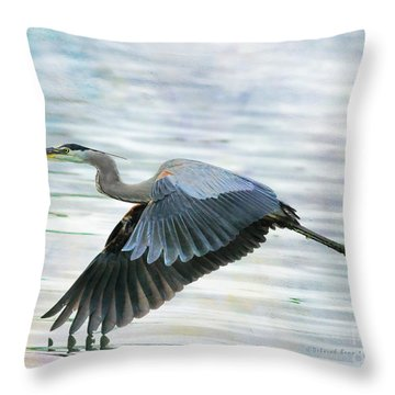 Blue With Grace And Beauty Throw Pillow by Deborah Benoit