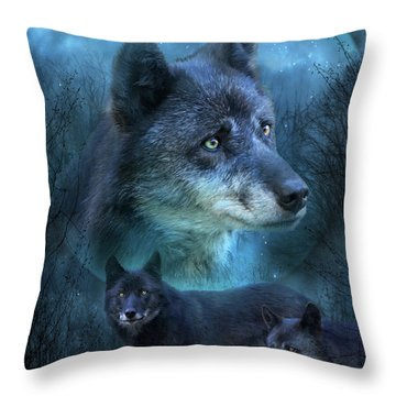 Blue Wolf Throw Pillow by Carol Cavalaris