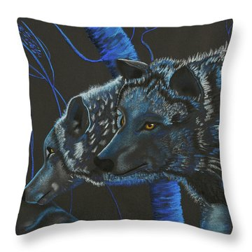Blue Wolves Throw Pillow