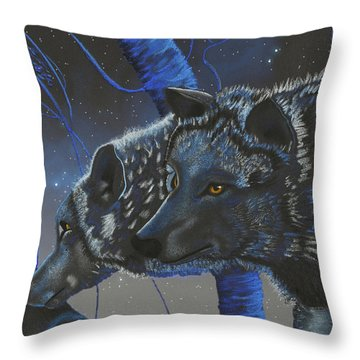 Blue Wolves With Stars Throw Pillow