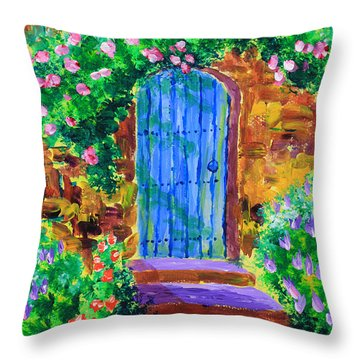 Blue Wooden Door To Secret Rose Garden Throw Pillow