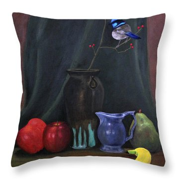Blue Wren And Fruit Throw Pillow
