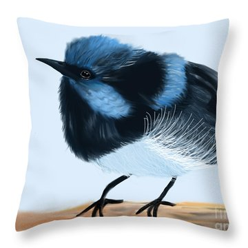 Blue Wren Beauty Throw Pillow