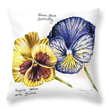 Blue Yellow Pansies Throw Pillow by Katharina Filus