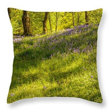Bluebell Flowers Throw Pillow