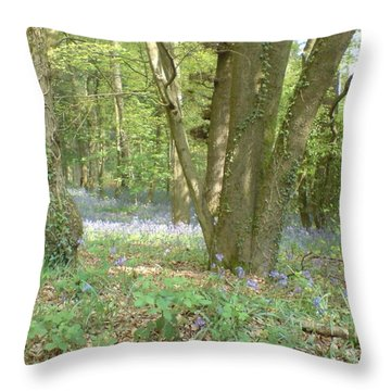 Throw Pillow featuring the photograph Bluebell Wood by John Williams