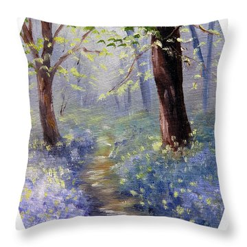 Bluebell Wood Throw Pillow