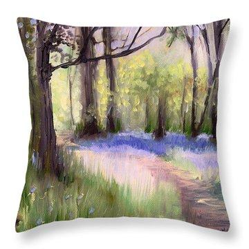 Bluebells At Dusk Throw Pillow