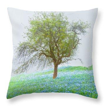 Bluebells Throw Pillow by Debra and Dave Vanderlaan