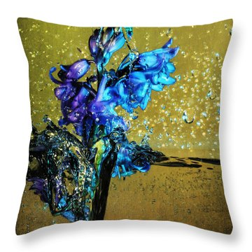 Throw Pillow featuring the mixed media Bluebells In Water Splash by Peter v Quenter