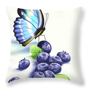 Blueberries And Butterfly Throw Pillow