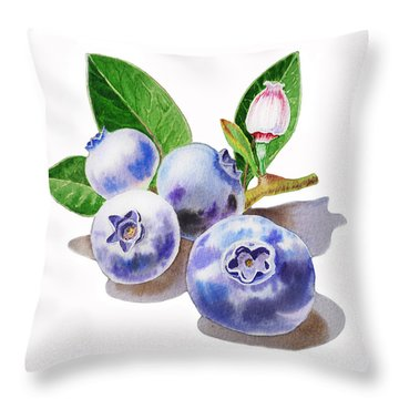 Artz Vitamins The Blueberries Throw Pillow by Irina Sztukowski