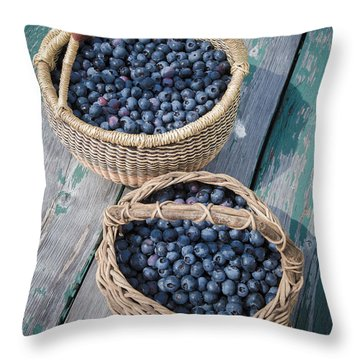 Blueberry Baskets Throw Pillow by Edward Fielding
