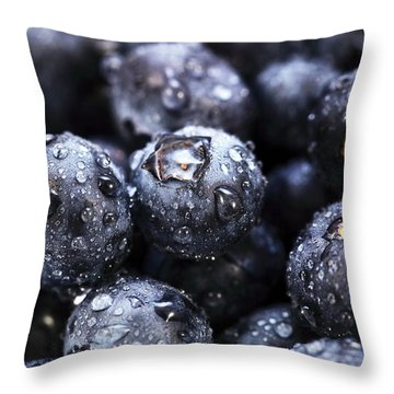 Blueberry Close Up Throw Pillow by John Rizzuto
