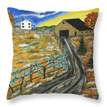 Throw Pillow featuring the painting Blueberry Farm by Jeffrey Koss